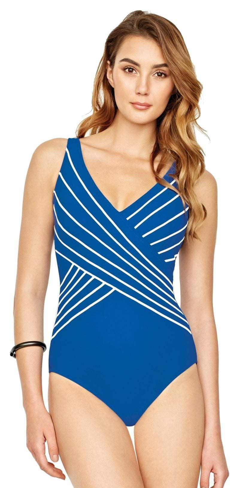 Gottex Embrace Surplice Swimsuit in Deep Blue 18EM-158-407: