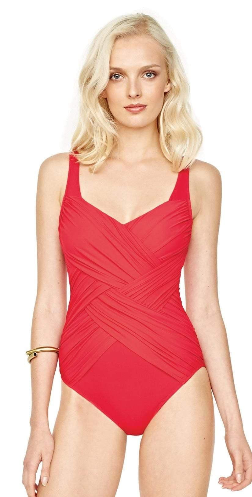 Gottex Contour Lattice Square Neck One Piece in Red 18LA-174-600: