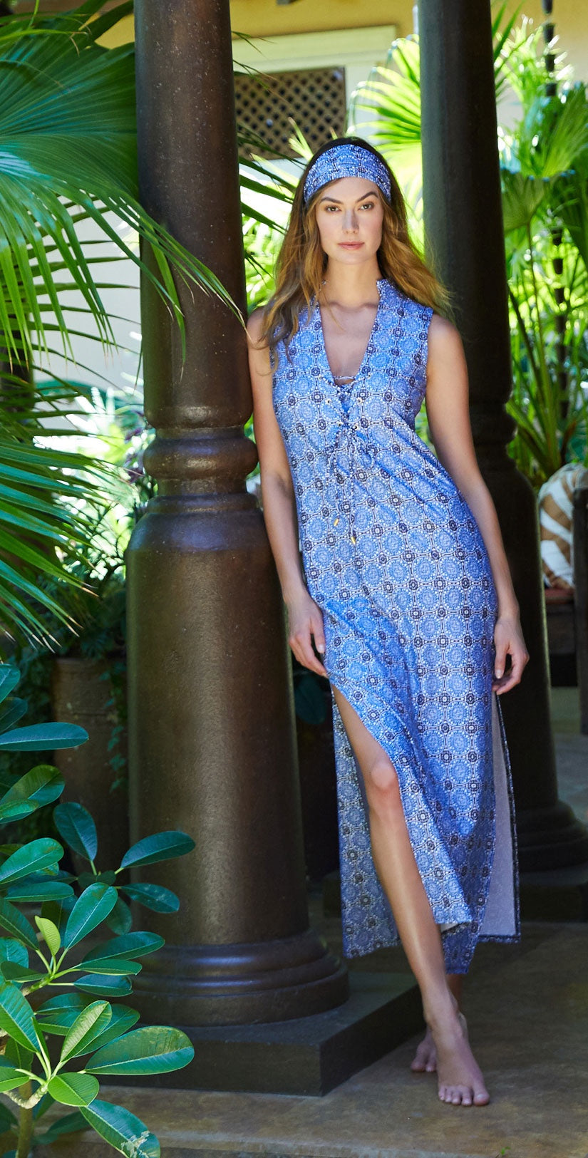 Helen Jon Chelsea Lace Up Maxi Dress in Antibes  front