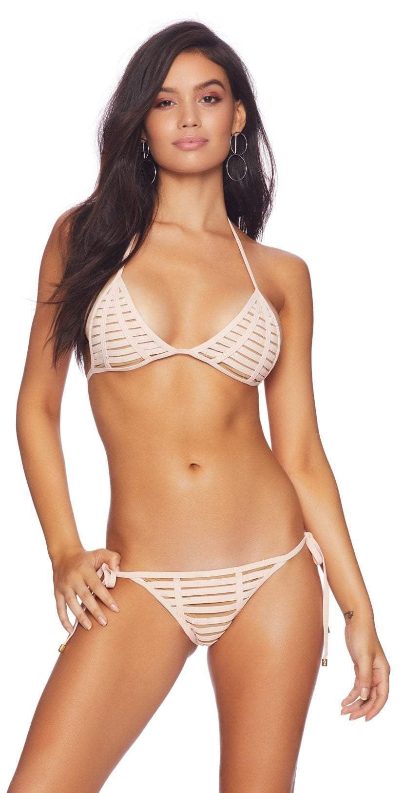 Beach Bunny Hard Summer Tie Side Skimpy Bottom in Blush Front View