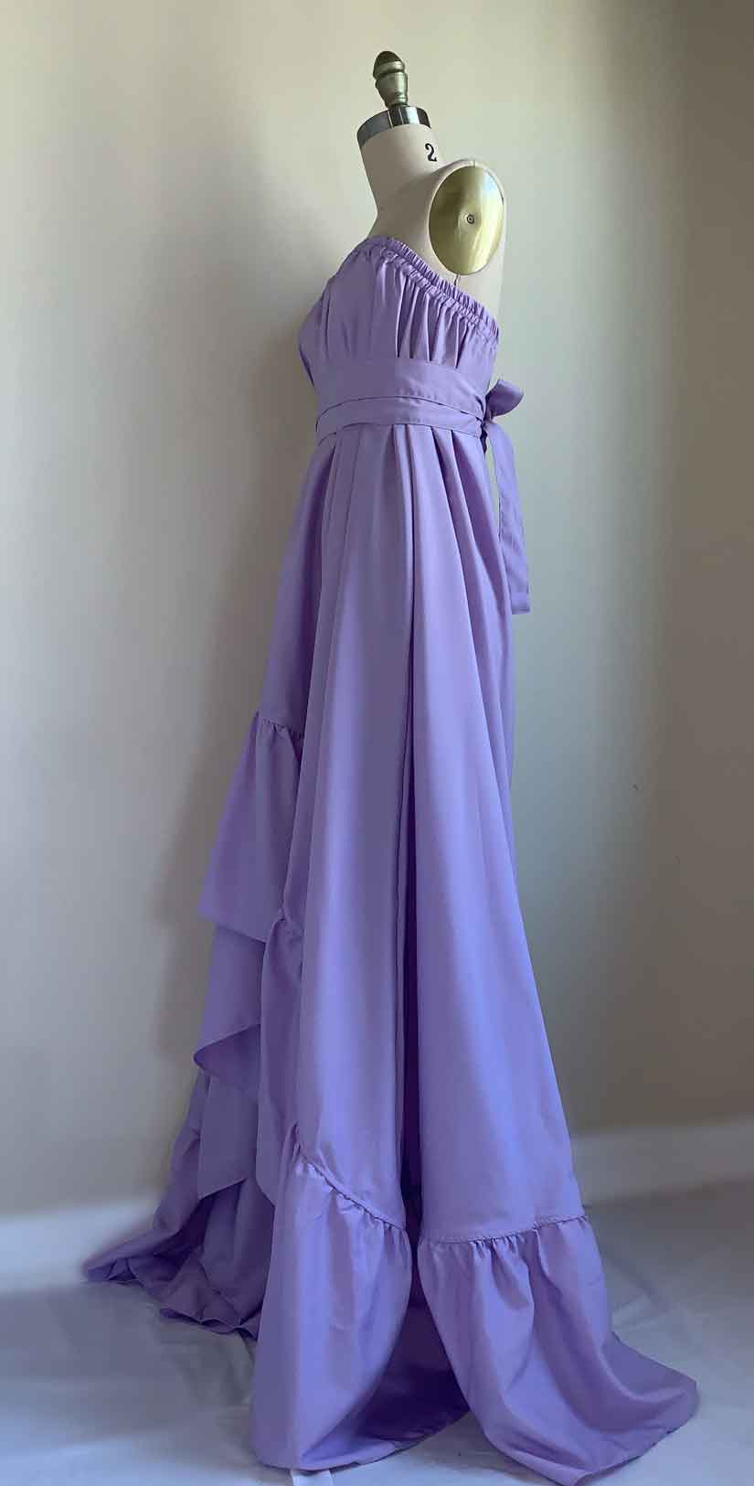 Goddess Dress 10 Inch Ruffle in Lavender side
