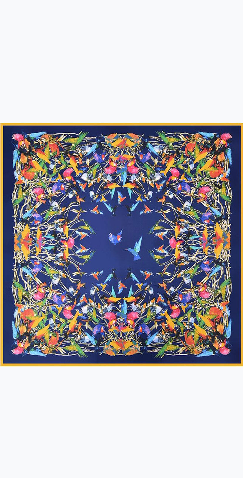 Camaroha Sutra Heavyweight Silk Scarf Birds in Navy Blue