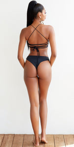 Keva J Basic Instinct Amur Lace Up Bikini Bottom in Black