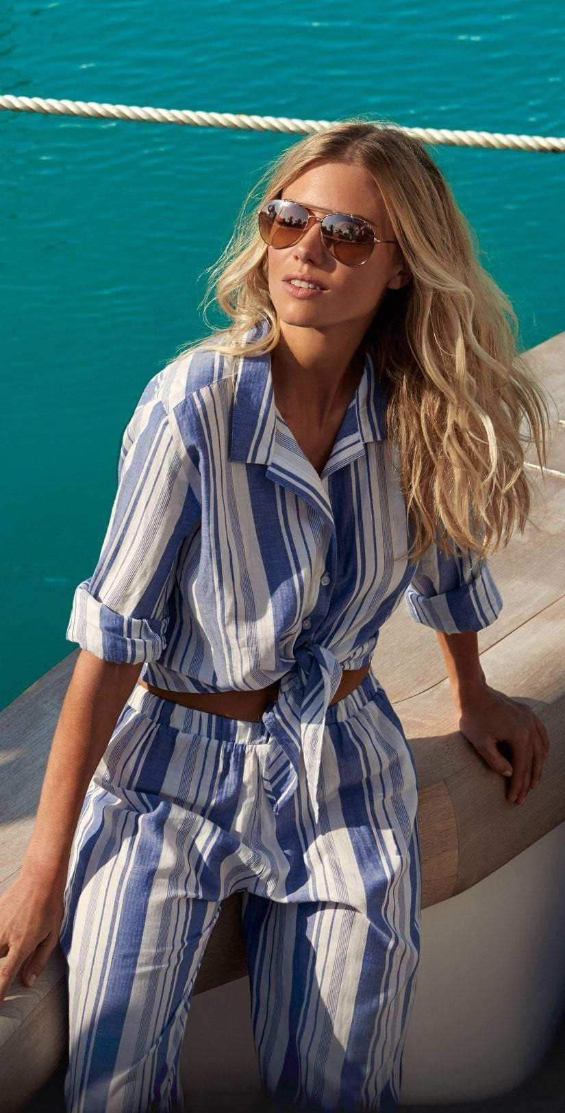 Melissa Odabash Inny Blue Stripe Button Up Top