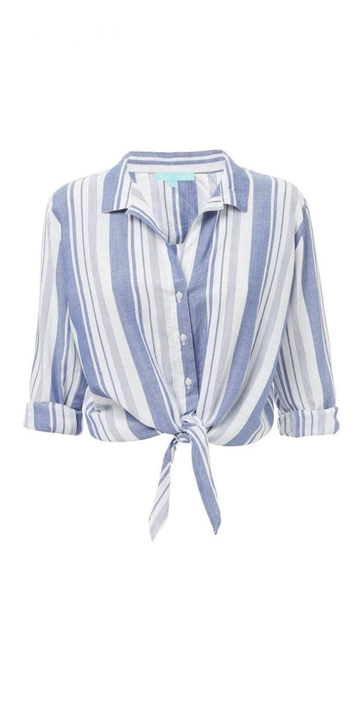 Melissa Odabash Inny Blue Stripe Button Up Top Flat Lay