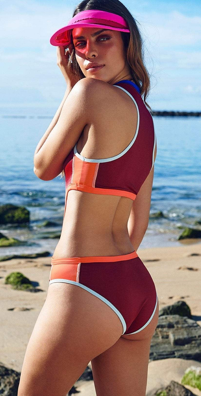 women's burgundy color block zip front cut out swimsuit