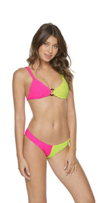 PilyQ Pineapple Reef Two Tone Teeny Bikini Bottom front