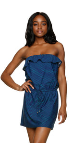 Draper James for Helen Jon Ruffle Poolside Dress in Petite Dot  front