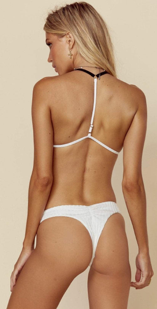 Blue Life Island Fever Brazilian Bottom in Diamond White 444-9020 back view of suit on model