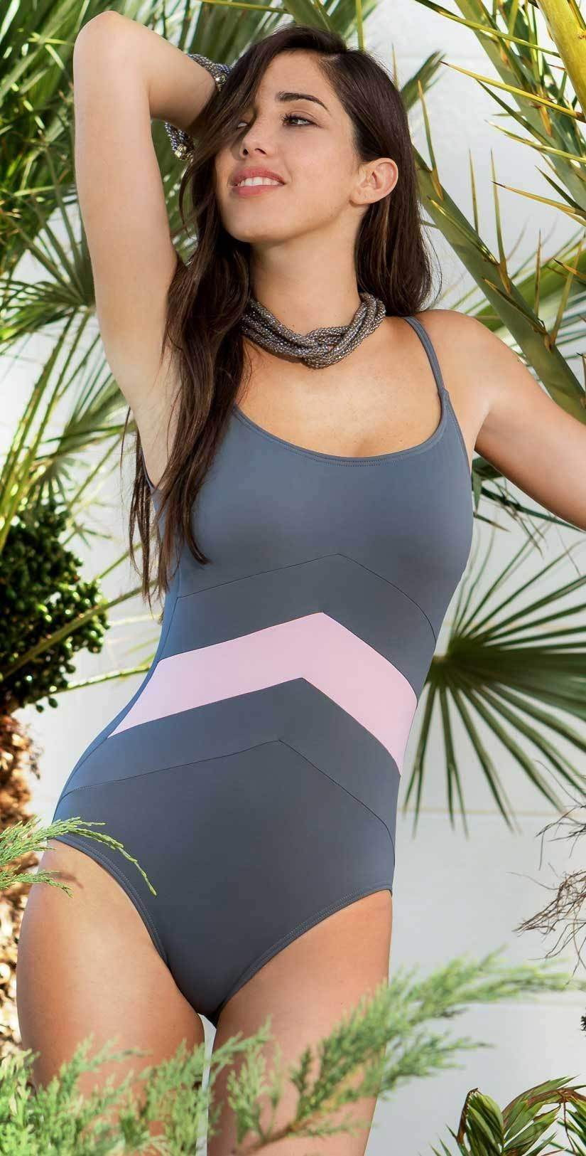 Kuny Barcelona Miami One Piece in Grey K18023159-GRIS: