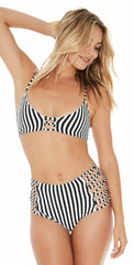 L Space Domino Stripe Reversible Tripp High Waist Bottom LSTRB18-DST:
