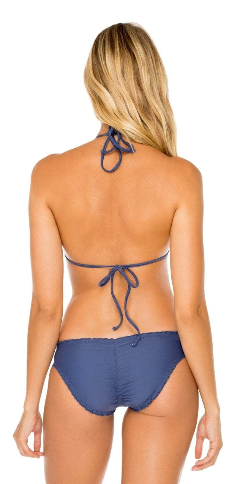 Molded Push Up Bandeau Halter in Blue