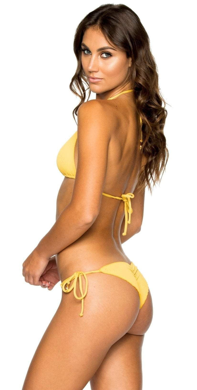 Luli Fama Costa del Sol Seamless Ruched Back Brazilian Tie Side in Yellow L50002P 476: