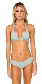 Luli Fama Orillas del Mar Crossover Moderate Bikini Bottom In Green L500N07 480: