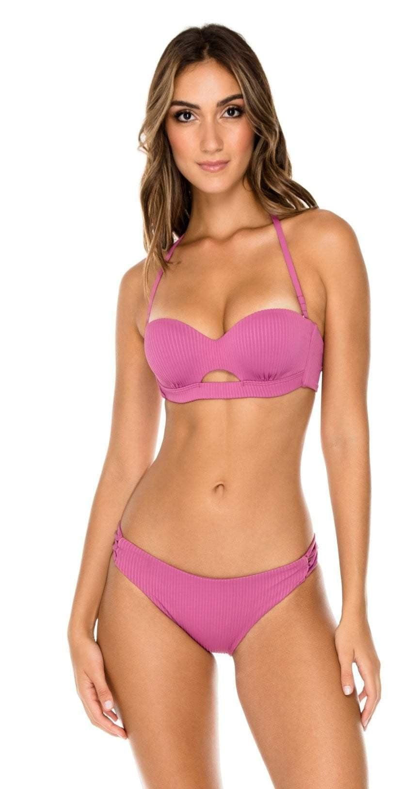 Luli Fama Orillas del Mar Peek-a-Boo Underwire Bandeau in Purple L500N61 481: