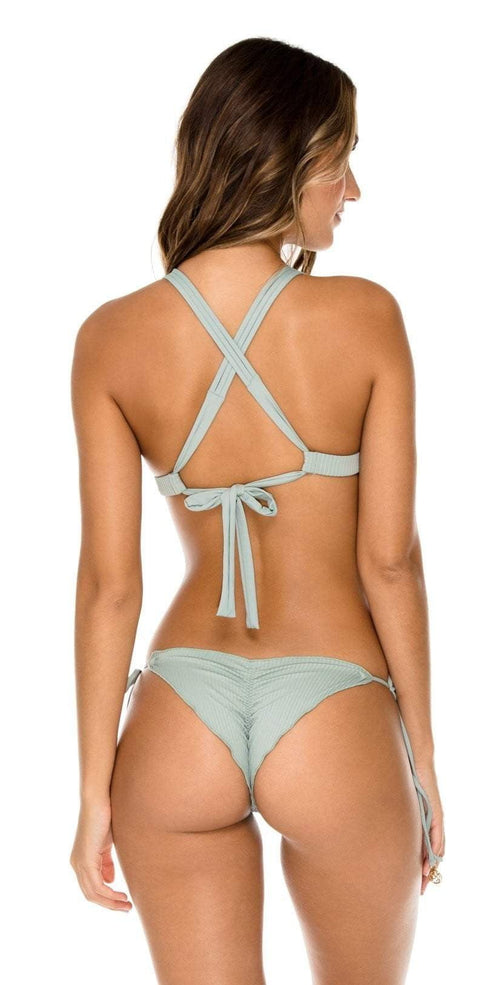 Luli Fama Orillas del Mar Seamless Ruched Back Brazilian Tie Side Bikini Bottom in Green L50002P 480: