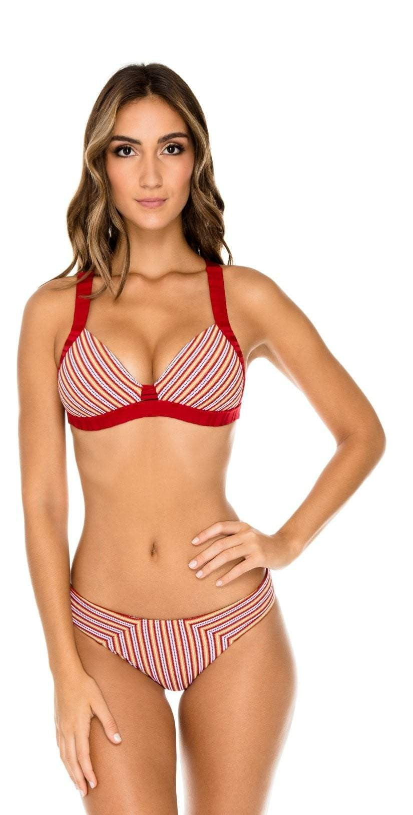 Luli Fama Torre de Oro Push Up Halter Top in Red L580M65 475:
