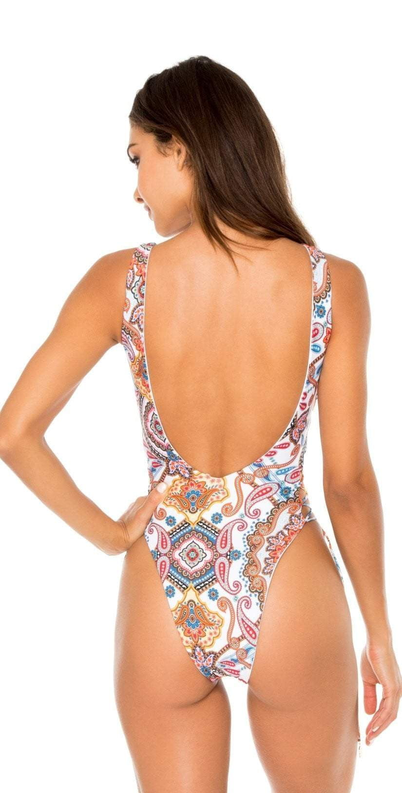 Luli Fama La Maestranza Interlaced Open Side White One Piece Bodysuit L602A38 002: