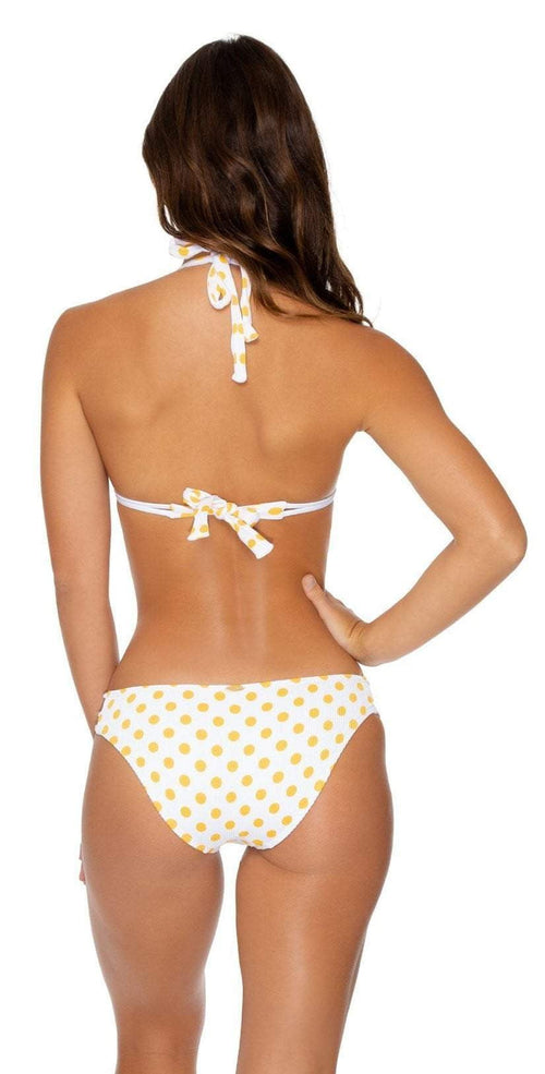 Luli Fama Itsy Bitsy Halter Bikini Top in Yellow Back View