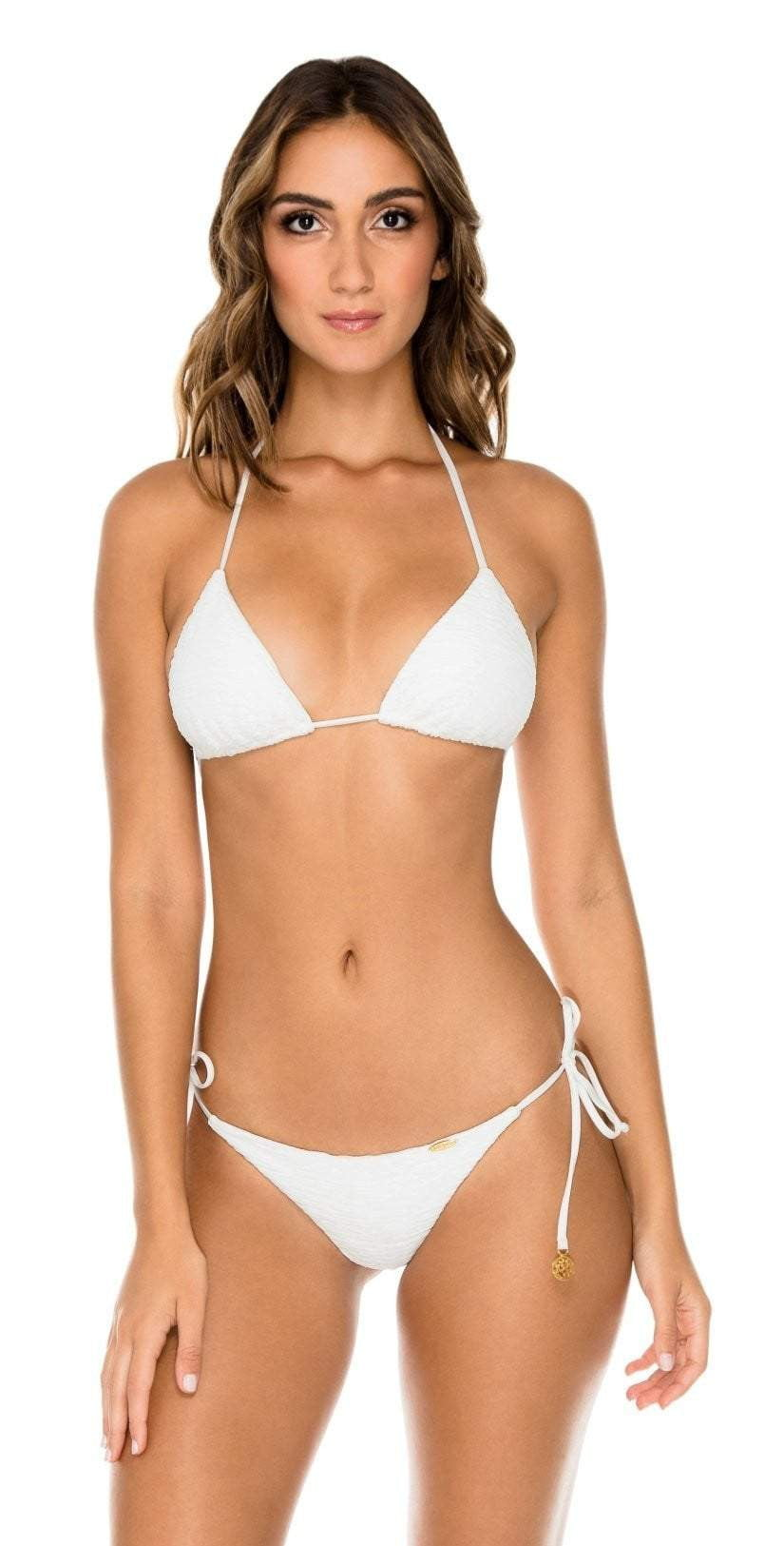 Luli Fama Buleria Triangle Halter Bikini Top in White L61121P 068