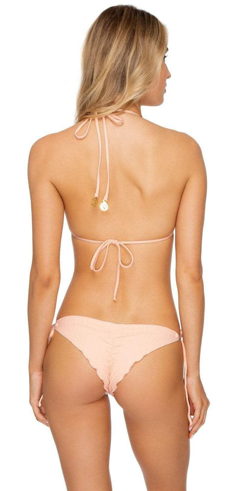 Luli Fama Jagged Bombshell Tie Side Bottom in Peachin L62402P 493