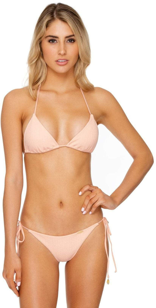 Luli Fama Jagged Bombshell Tie Side Bottom in Peachin Front View