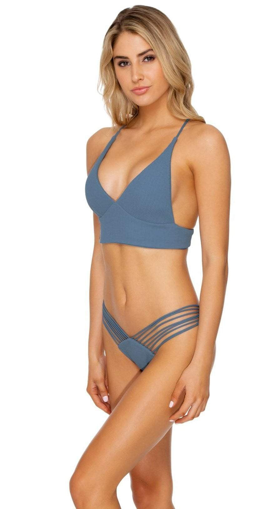 Luli Fama Strappy Brazilian Bikini Bottom in Olas Side View