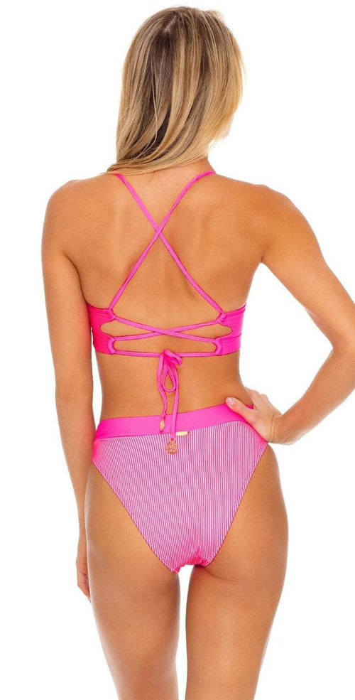 Luli Fama Luli Babe in Miami Underwire Top in Barbie Pink Back View