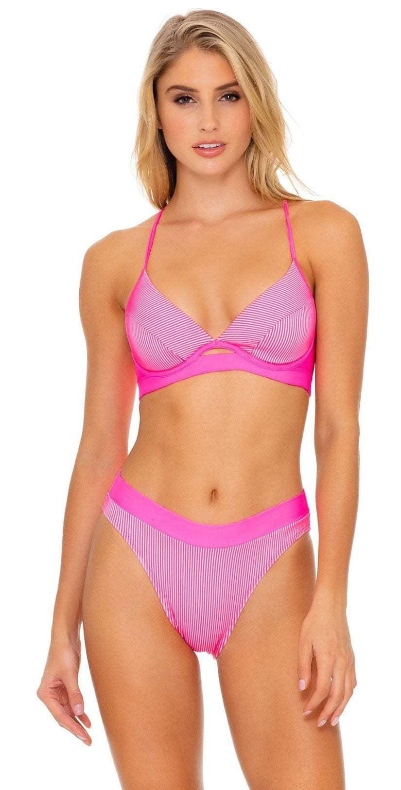 Luli Fama Luli Babe in Miami Underwire Top in Barbie Pink L633N17 516: