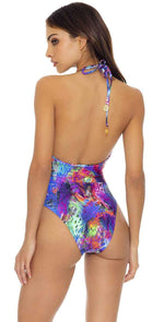 Luli Fama Isla Holbox Tie Front High Leg One Piece In Multicolor l651n67: