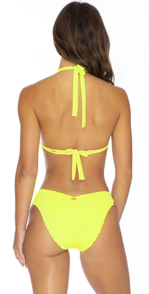 Luli Fama Pura Curiosidad Seamless Full Ruched Bottom In Neon Yellow l65252p 025: