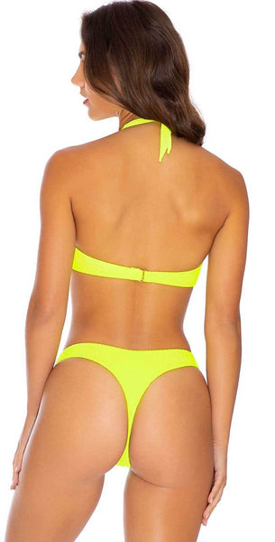 Luli Fama Pura Curiosidad Tab Side High Leg Thong in Neon Yellow: