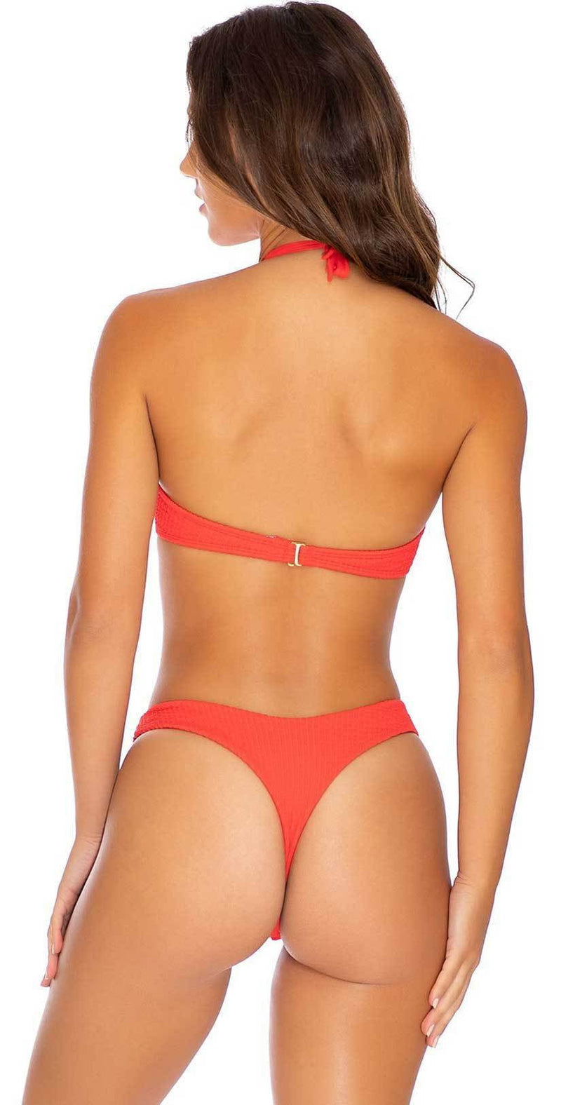 Luli Fama Pura Curiosidad Tab Side High Leg Thong in Chili Pepper: