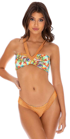 Luli Fama Just Wing It Reversible High Leg Brazilian Bottom in Multicolor