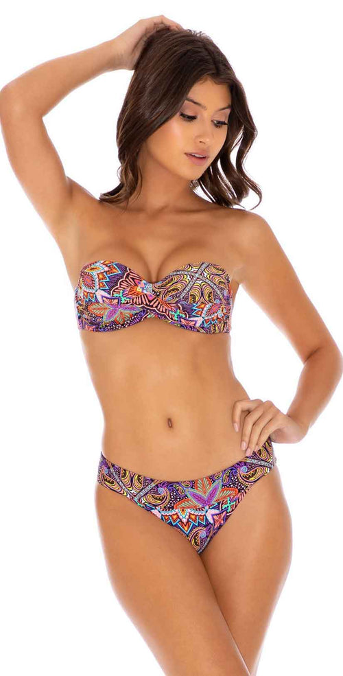 Luli Fama Tiki Babe Underwire Push Up Bandeau Top in Multicolor