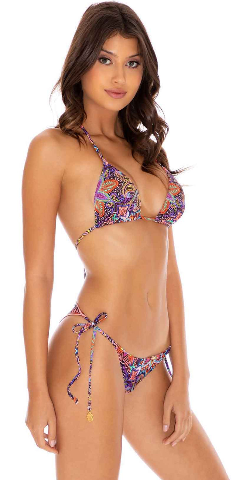 Luli Fama Tiki Babe Reversible Wavey Tie Side Bottom in Multicolor