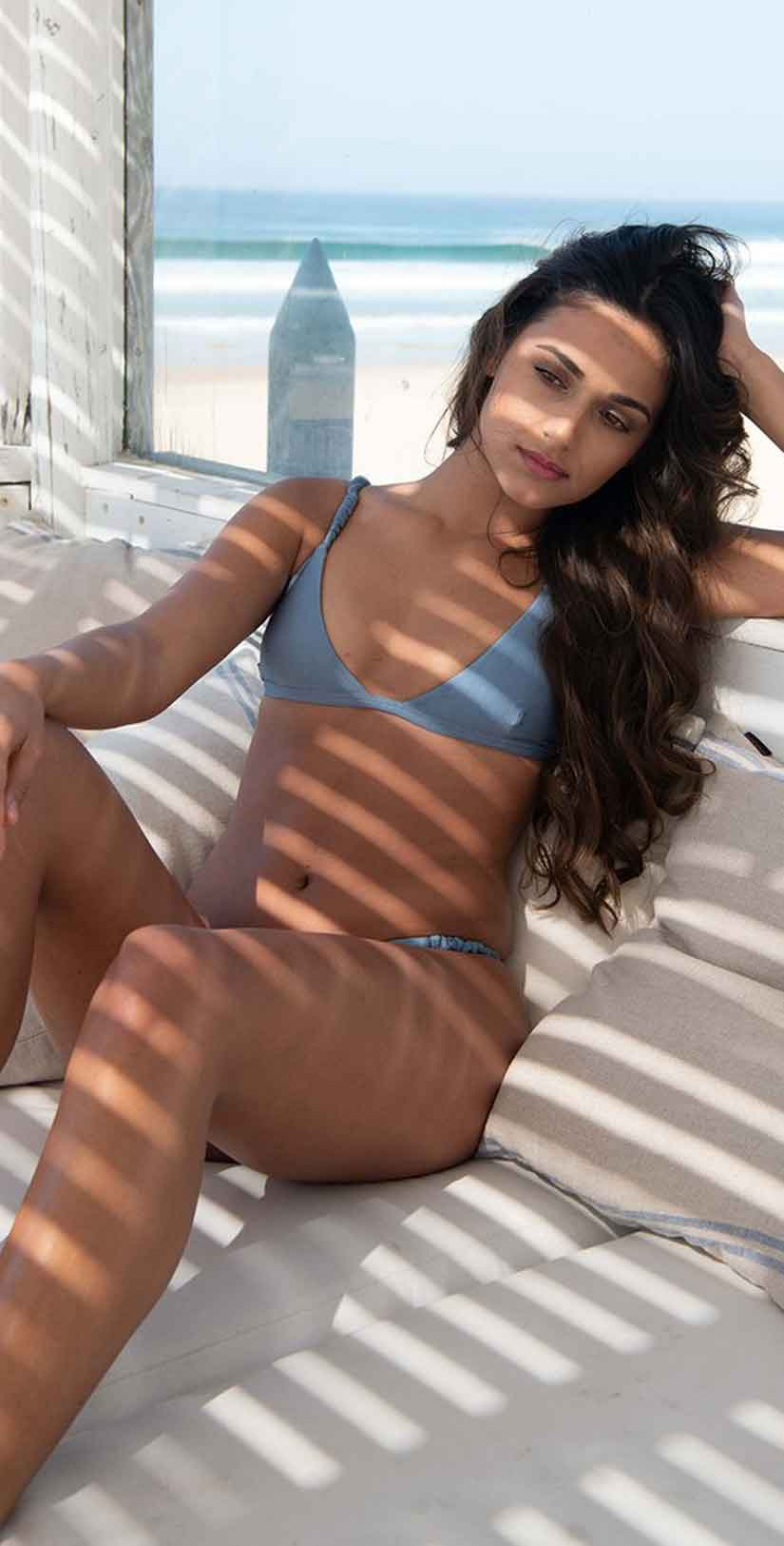 Ochie Swim Grace Bikini Top in Sky