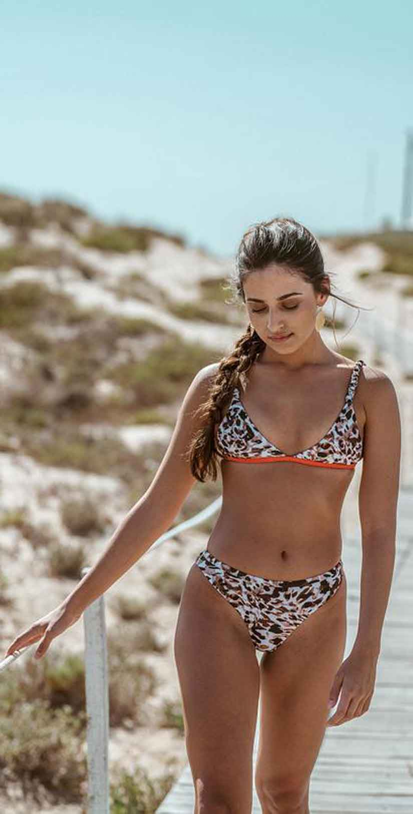Ochie Swim Grace Bikini Top in Animal Sunset