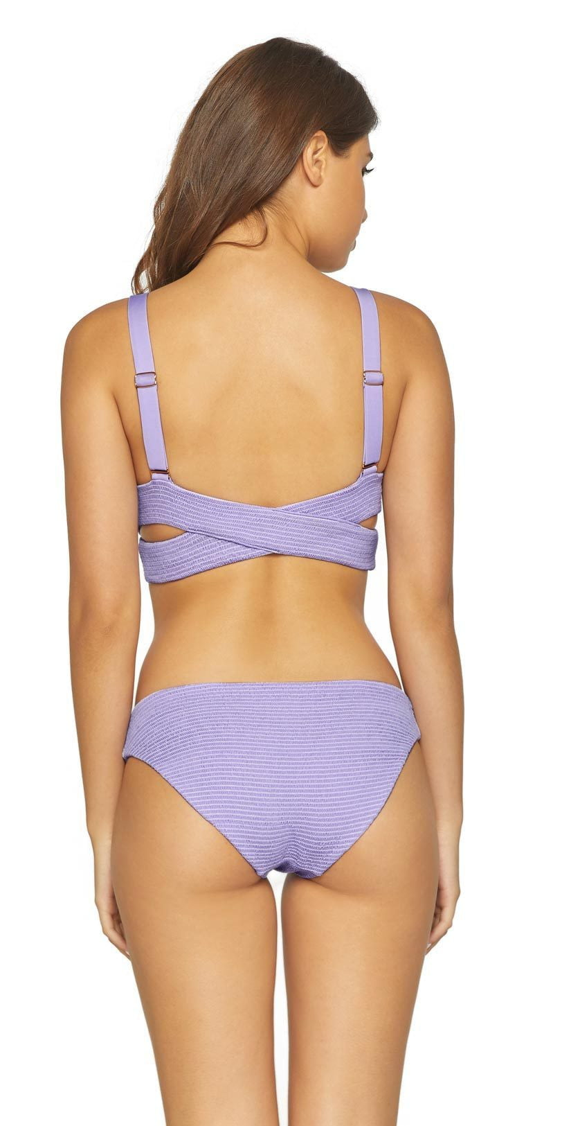 PilyQ Smocked Full Bikini Bottom in Lavender LAV-237F: