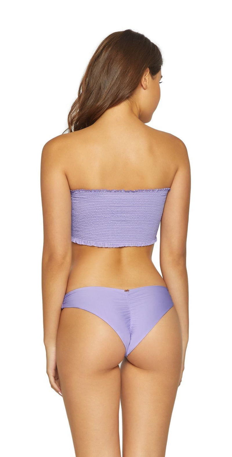 PilyQ Basic Ruched Teeny Bottom in Lavender LAV-211T: