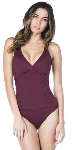 Gottex Contour Lattice Square Neck One Piece in Red 18LA-174-600