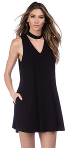 La Blanca Undercover Mock Neck Swing Dress in Black LA8LP31-BLK: