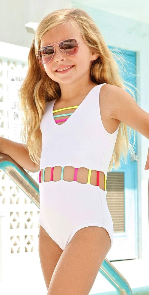 Little Peixoto Girls Jade One Piece Swimsuit in White 51706-S18: