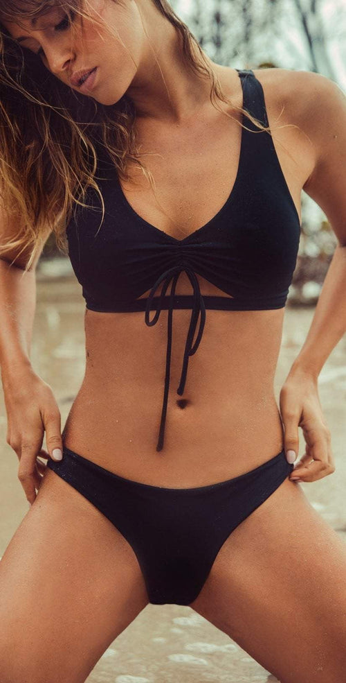 Peixoto Bahia Beach Cheeky Bikini Bottom in Black 21806-S46 front view