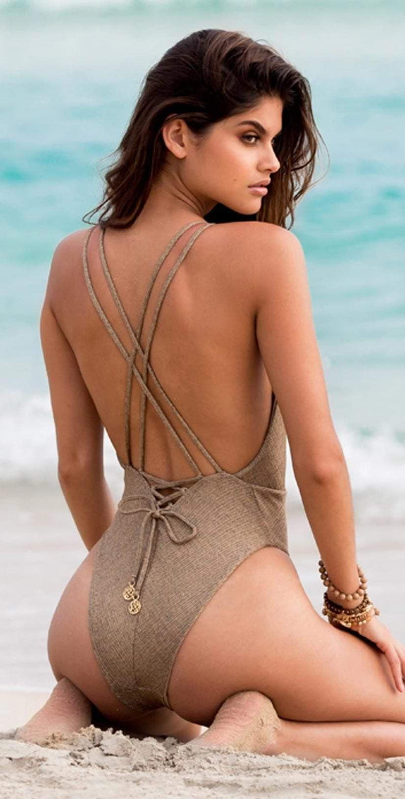 Luli Fama Compai One Piece in Bronze Swimsuit L556M60-BRNZ: