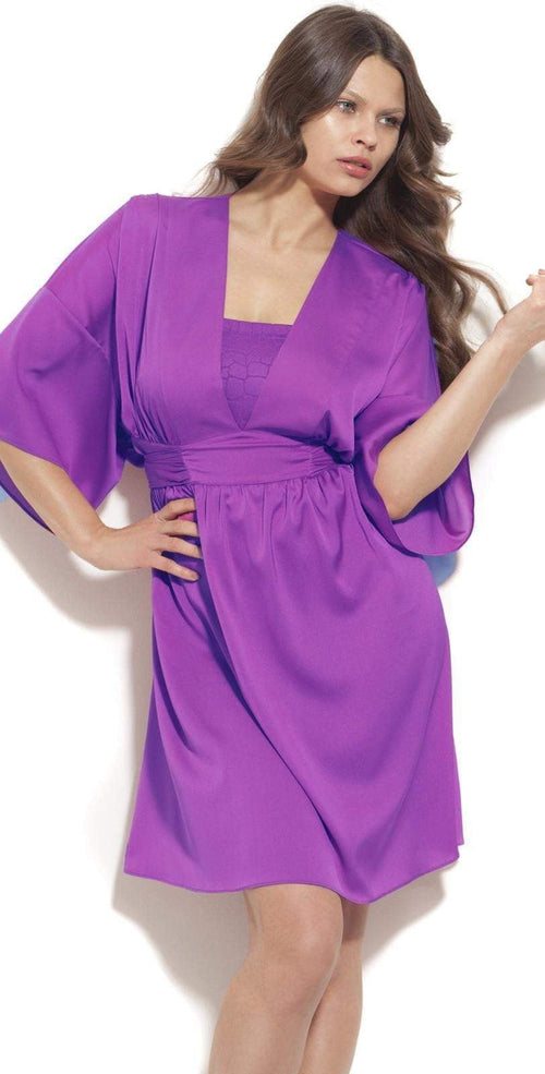 Gottex Mikado Leopard Dress in Warm Viola M03-612-533