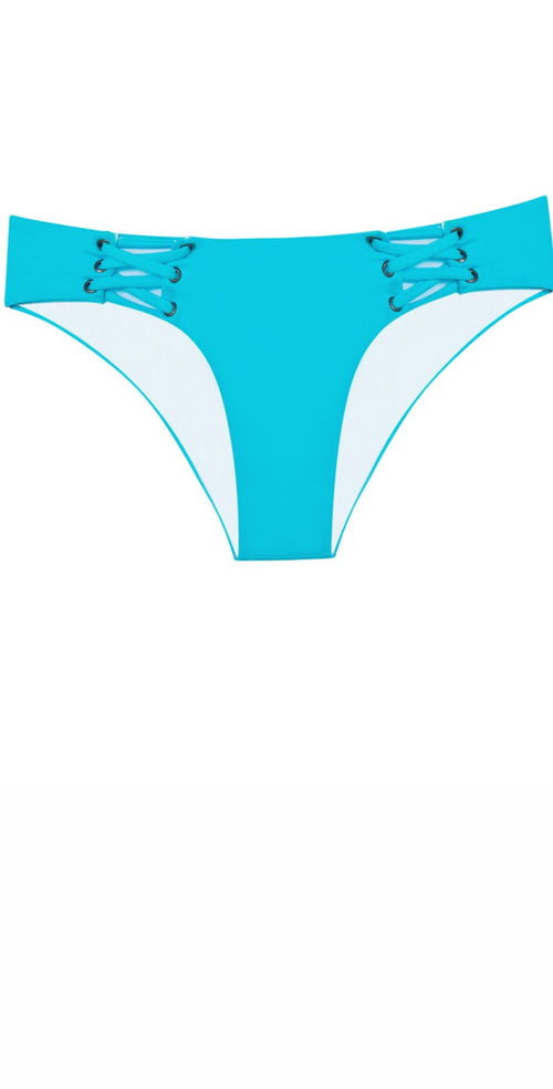 PilyQ Marine Lace-Up Teeny Bikini Bottoms in Blue MAR-225T front view of bttom