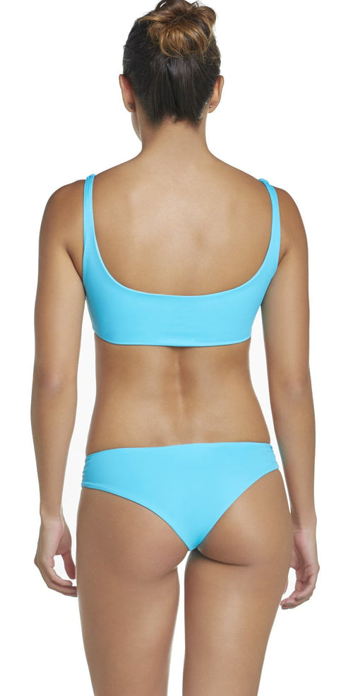 PilyQ Marine Lace-Up Teeny Bikini Bottom in Blue MAR-225T back view model