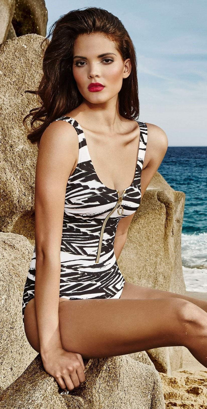 Maryan Mehlhorn Safari Front Zip Swimsuit 4571-506-077: