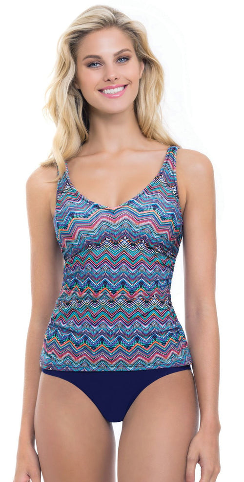 Profile by Gottex Marima V-neck Underwire Tankini Top in E Cup E737-1E46-080: